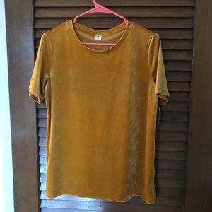 Mustard yellow velvet short sleeve shirt